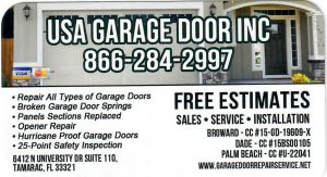 USA GARAGE DOOR INC BUSINESS CARD