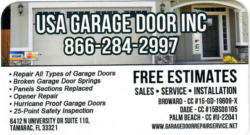 USA GARAGE DOOR INC BUSINESS CARD - Florida Real Estate Investment ...